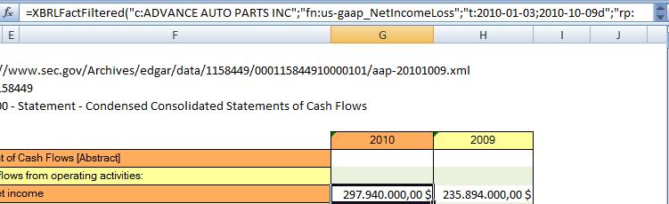 Funciones de Excel acceden a datos XBRL