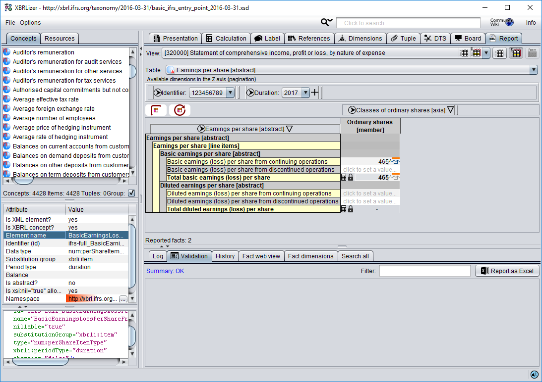 XBRLizer view of XBRL form where we can edit different dimensions of facts