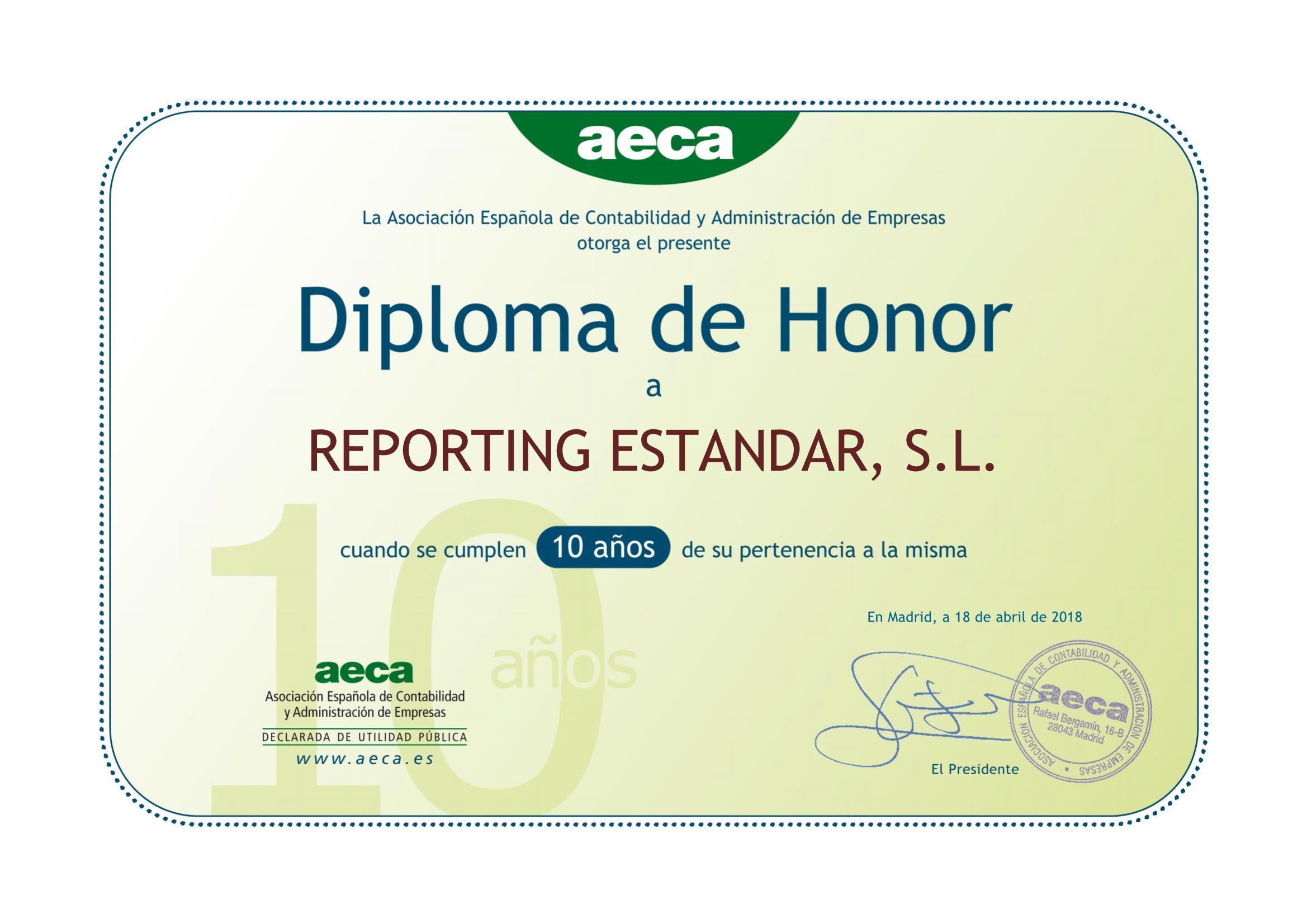 AECA otorga el diploma de honor a Reporting Standard tras una colaboración de 10 años