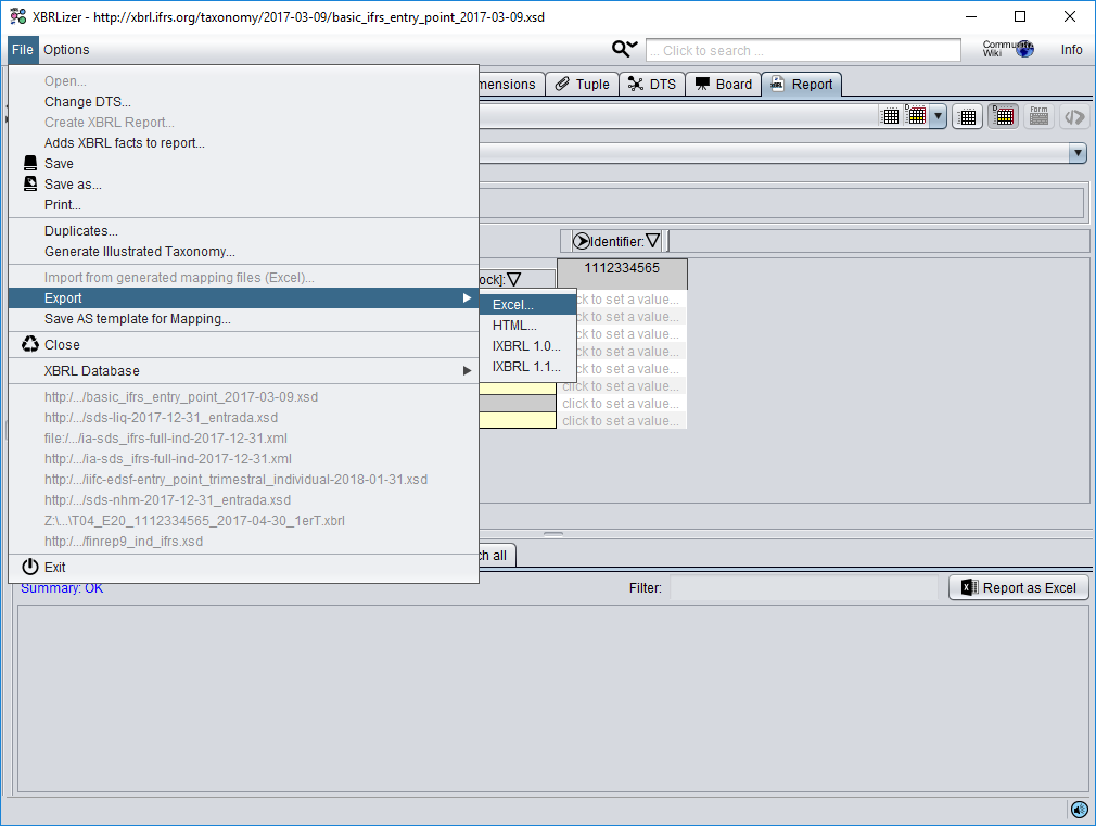 Select the option export to Excel from XBRLizer menu