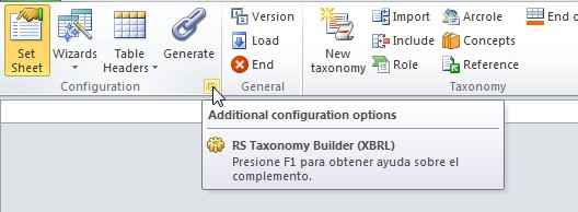 Botón del plug-in de Excel que muestra la ventana de opciones avanzadas del lenguaje XBRL DTS