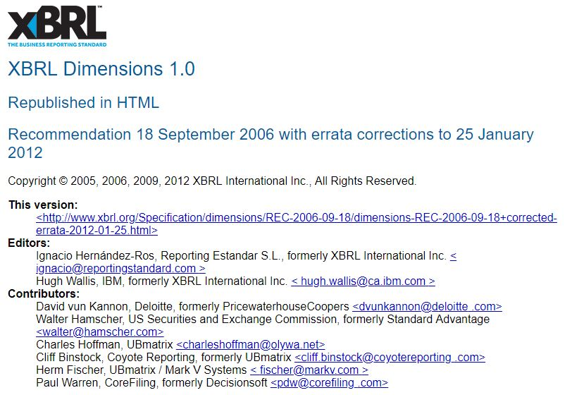El documento de especificacion de Dimensiones XBRL