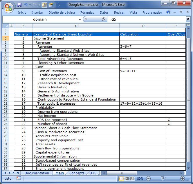 Ejemplo de libro usado por el Taxonomy Builder para crear una taxonomía usando Excel. En esta imagen podemos ver algunas de las características técnicas ya descritas