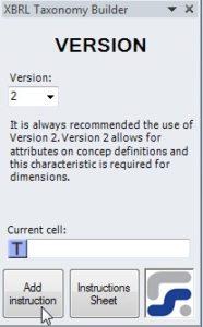 La ventana para definir los parametros de la instruccion VERSION