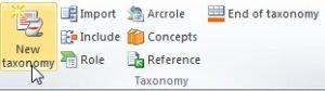 """Vista del plugin del Excel. En la seccion de """"Taxonomy"""" se encuentra el boton """"BOT"""""""
