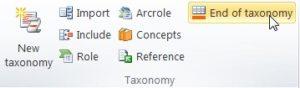 """Vista del plugin del Excel. En la seccion de """"Taxonomy"""" se encuentra el boton """"EOT"""""""