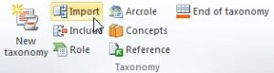 """Vista del plugin del Excel. En la seccion de """"Taxonomy"""" se encuentra el boton """"IMPORT"""""""