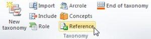 """Vista del plugin del Excel. En la seccion de """"Taxonomy"""" se encuentra el boton """"REFERENCE"""""""