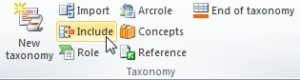 """Vista del plugin del Excel. En la seccion de """"Taxonomy"""" se encuentra el boton """"INCLUDE"""""""