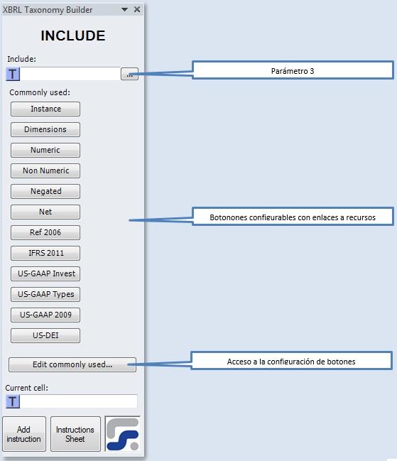 La ventana para definir los parametros de la instruccion INCLUDE
