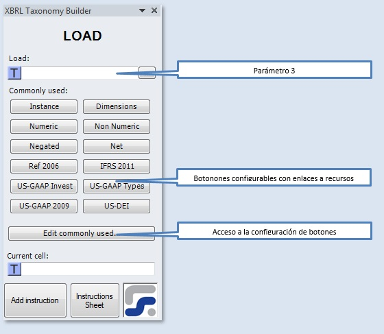 La ventana para definir los parametros de la instruccion LOAD