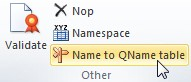 "Vista del plugin del Excel. En la sección de ""Others"" se encuentra el boton ""NAME to QNAME table"""