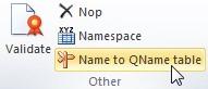 """Vista del plugin del Excel. En la sección de """"Others"""" se encuentra el boton """"NAME to QNAME table"""""""
