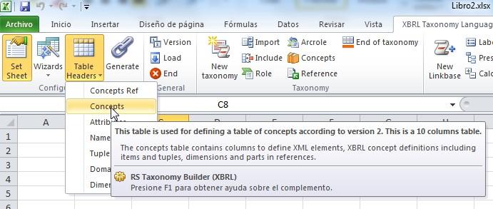 Como crear una tabla de conceptos de la taxonomía en Excel