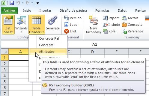 Como crear una tabla de attributos de un concepto en Excel