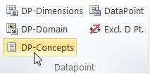 """Vista del plugin de Excel. En la sección de """"Datapoint"""" se encuentra el boton """"DP-Concepts"""" instruccion para crear DTS"""