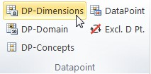 """Vista del plugin de Excel. En la sección de """"Datapoint"""" se encuentra el boton """"DP-Dimensions"""" instruccion para crear DTS"""