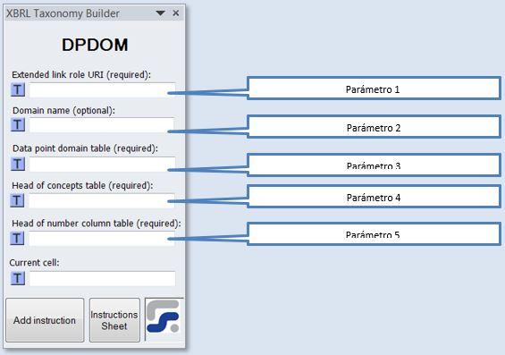 La ventana para definir los parametros de la instruccion DPDOM instruccion para crear DPS Domains
