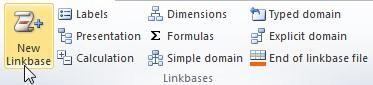 """Vista del plugin de Excel. En la sección de """"Linkbases"""" se encuentra el boton """"New Linkbase"""" instruccion para crear una nueva linkbase"""