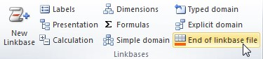 """Vista del plugin de Excel. En la sección de """"Linkbases"""" se encuentra el boton """"End of Linkbase file"""" instruccion para crear una nueva linkbase"""