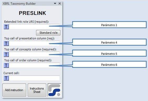 La ventana para definir los parametros de la instruccion PRESLINK instruccion para crear Linkbases de presentación XBRL