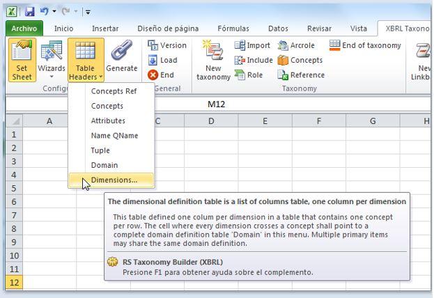 """Vista del plugin de Excel. En la sección de """"Configuration"""" se encuentra el boton """"Table Headers"""". Si seleccionamos la opción Dimensions.. se nos creara la cabecera de la tabla necesaria para la instruccion DIMLINK"""