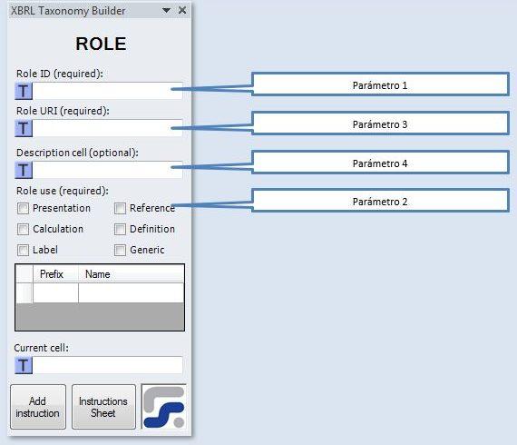 La ventana para definir los parámetros de la instrucción ROLE instruccion para crear roles XBRL