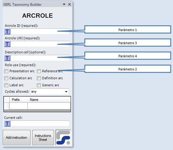 La ventana para definir los parámetros de la instrucción ARCROLE instruccion para crear arcos de roles XBRL
