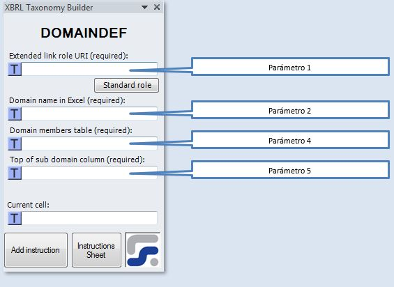 La ventana para definir los parámetros de la instrucción DOMAINDEF instrucción para crear dominios XBRL