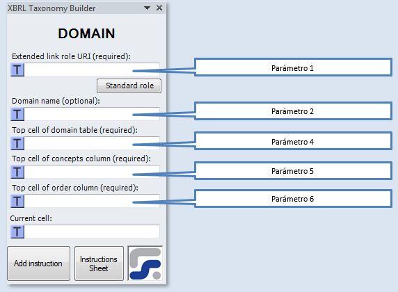 La ventana para definir los parámetros de la instrucción DOMAIN instrucción para crear dominios XBRL