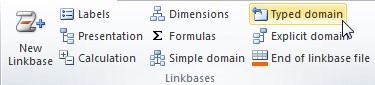 """Vista del plugin de Excel. En la sección de """"Linkbases"""" se encuentra el boton """"Typed Domain"""" instruccion para crear una dimensión tipada"""